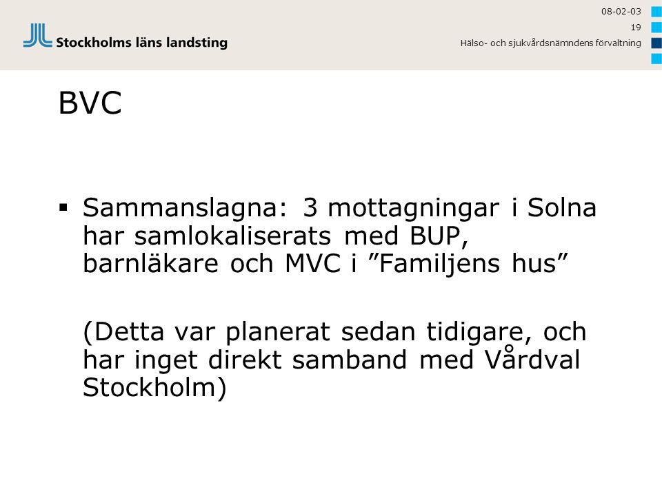 """08-02-03 Hälso- och sjukvårdsnämndens förvaltning 19 BVC  Sammanslagna: 3 mottagningar i Solna har samlokaliserats med BUP, barnläkare och MVC i """"Fam"""
