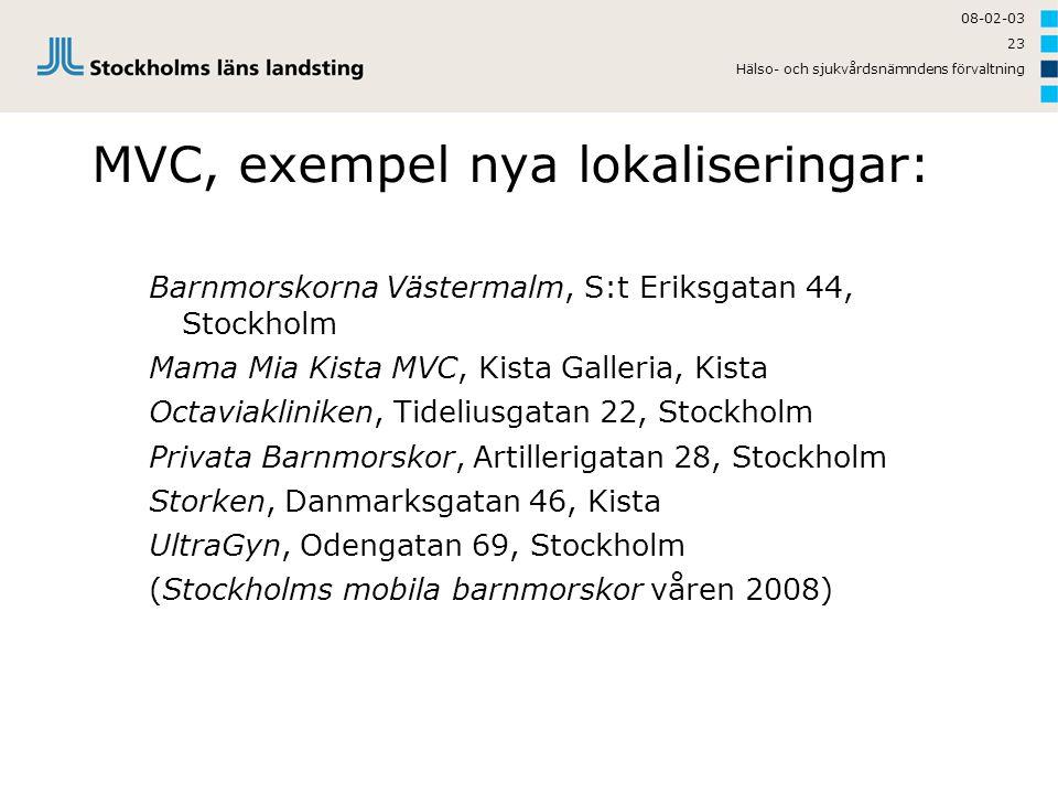 08-02-03 Hälso- och sjukvårdsnämndens förvaltning 23 MVC, exempel nya lokaliseringar: Barnmorskorna Västermalm, S:t Eriksgatan 44, Stockholm Mama Mia