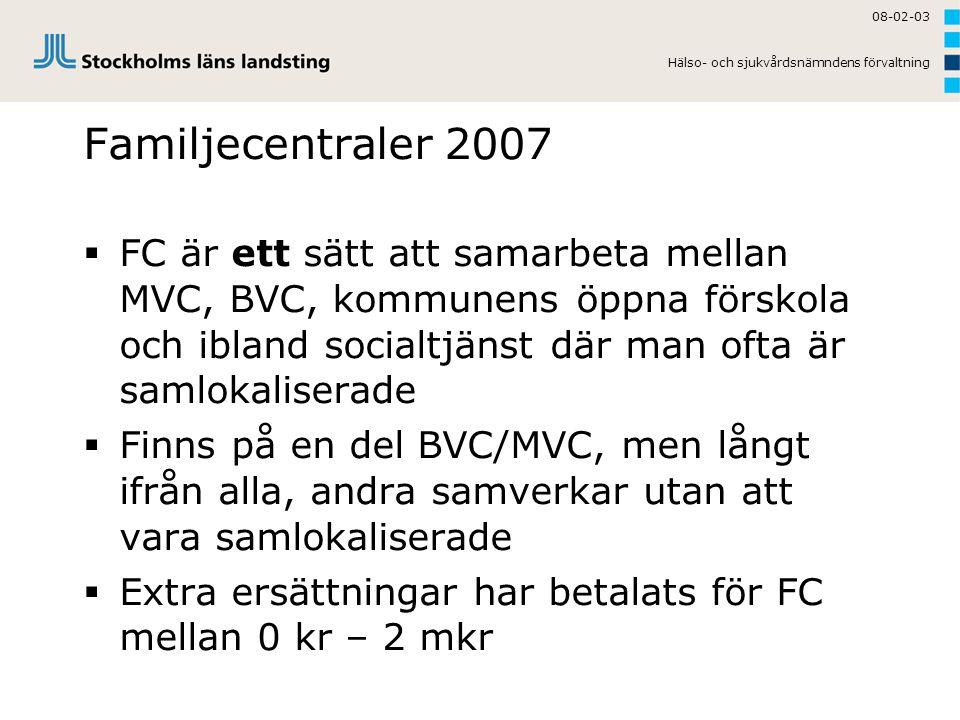 08-02-03 Hälso- och sjukvårdsnämndens förvaltning Familjecentraler 2007  FC är ett sätt att samarbeta mellan MVC, BVC, kommunens öppna förskola och i
