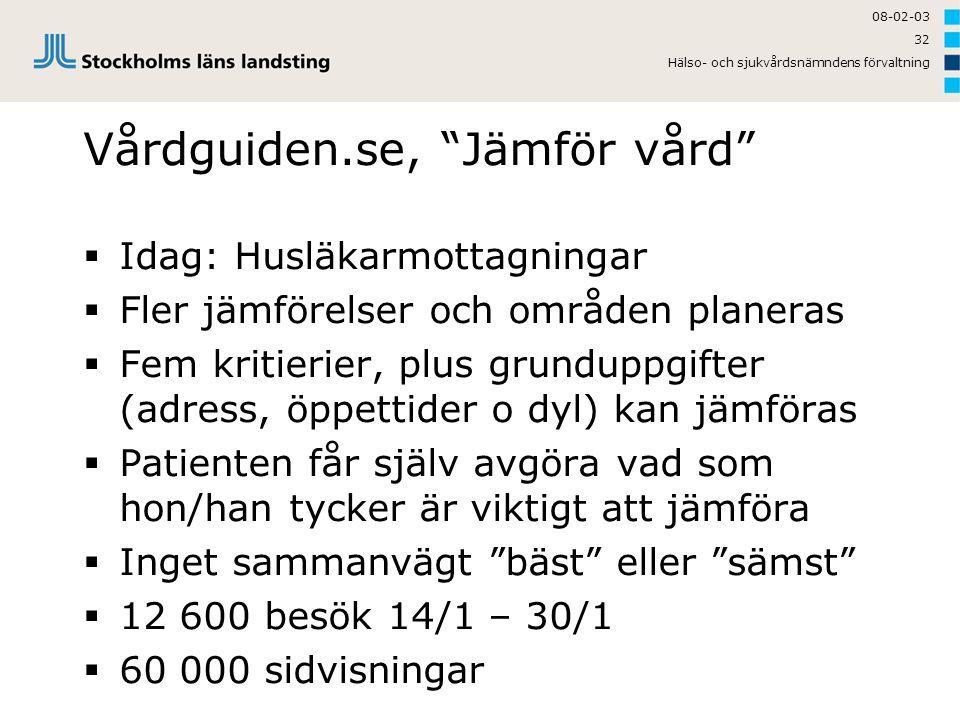 """08-02-03 Hälso- och sjukvårdsnämndens förvaltning 32 Vårdguiden.se, """"Jämför vård""""  Idag: Husläkarmottagningar  Fler jämförelser och områden planeras"""