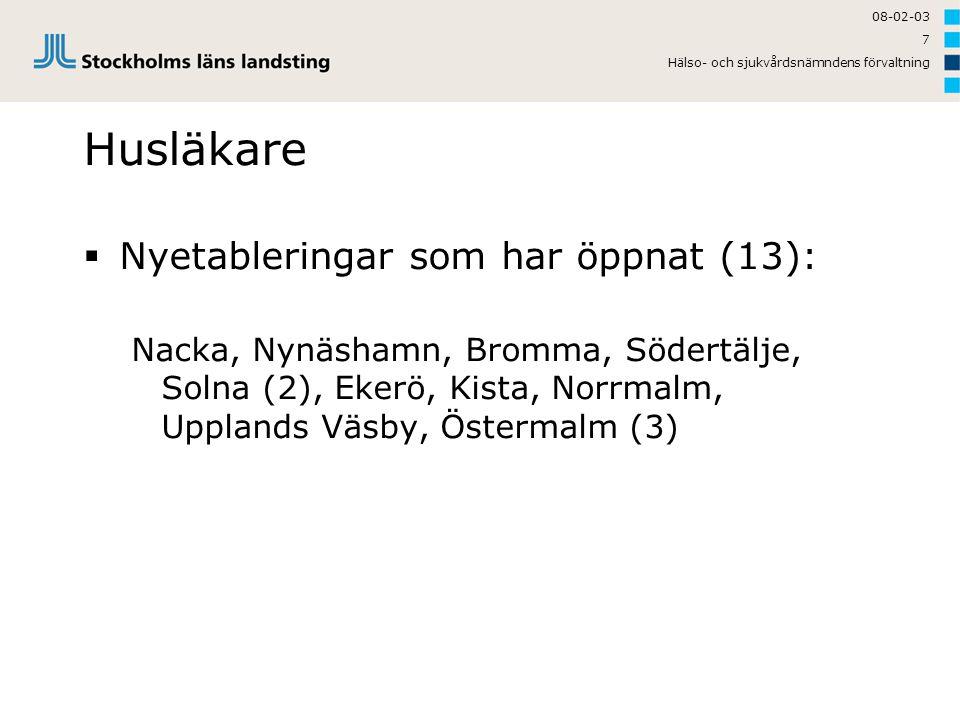 08-02-03 Hälso- och sjukvårdsnämndens förvaltning 7 Husläkare  Nyetableringar som har öppnat (13): Nacka, Nynäshamn, Bromma, Södertälje, Solna (2), E