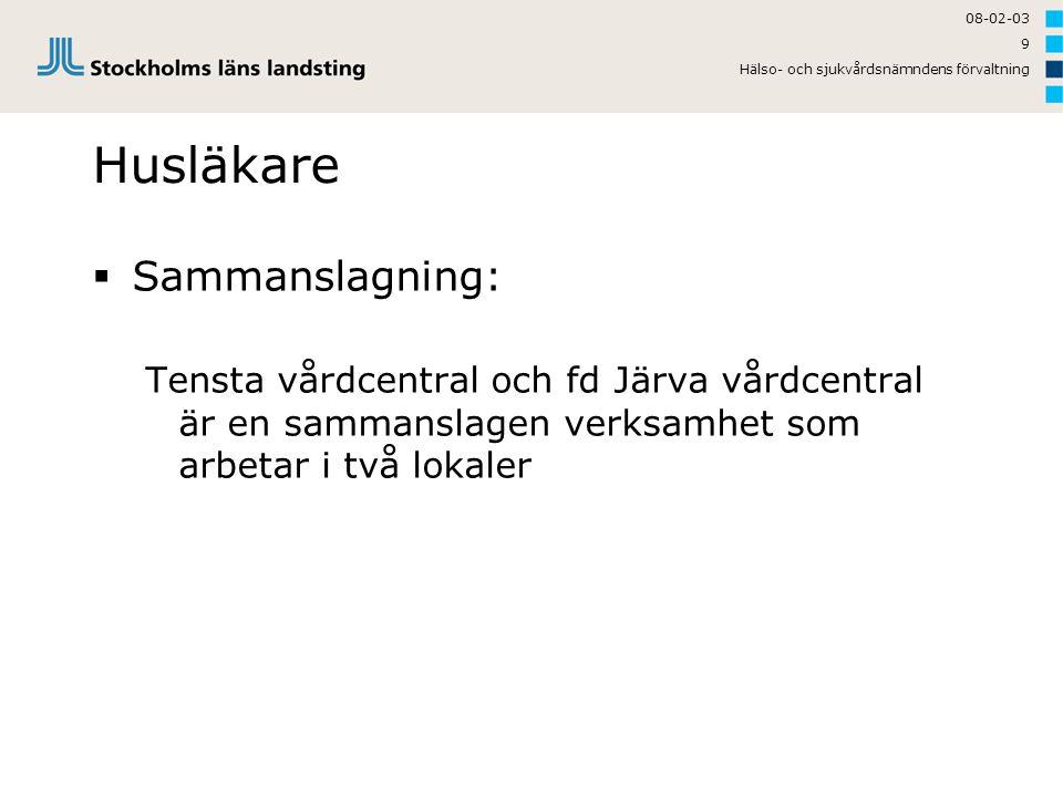 08-02-03 Hälso- och sjukvårdsnämndens förvaltning 9 Husläkare  Sammanslagning: Tensta vårdcentral och fd Järva vårdcentral är en sammanslagen verksam