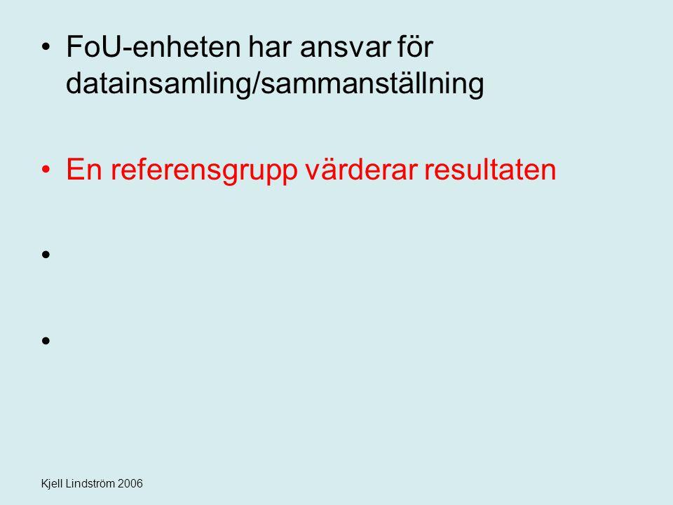 Kjell Lindström 2006 FoU-enheten har ansvar för datainsamling/sammanställning En referensgrupp värderar resultaten