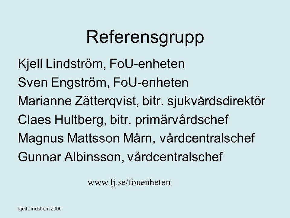 Kjell Lindström 2006 Referensgrupp Kjell Lindström, FoU-enheten Sven Engström, FoU-enheten Marianne Zätterqvist, bitr. sjukvårdsdirektör Claes Hultber