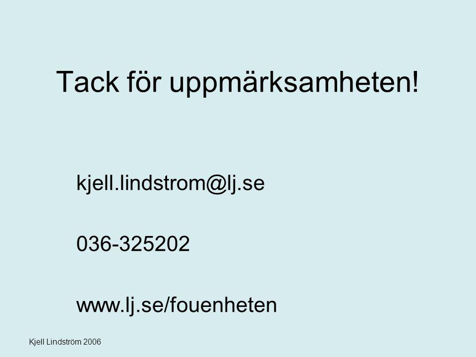 Kjell Lindström 2006 Tack för uppmärksamheten! kjell.lindstrom@lj.se 036-325202 www.lj.se/fouenheten