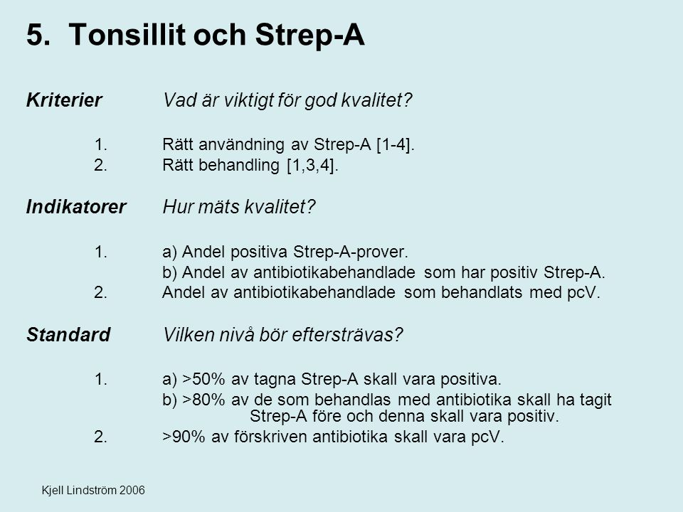 Kjell Lindström 2006 5. Tonsillit och Strep-A KriterierVad är viktigt för god kvalitet? 1. Rätt användning av Strep-A [1-4]. 2.Rätt behandling [1,3,4]