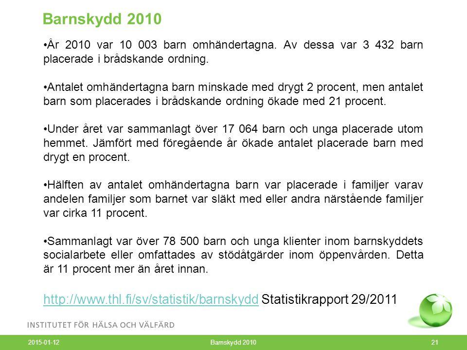 2015-01-12 Barnskydd 201021 Barnskydd 2010 År 2010 var 10 003 barn omhändertagna.