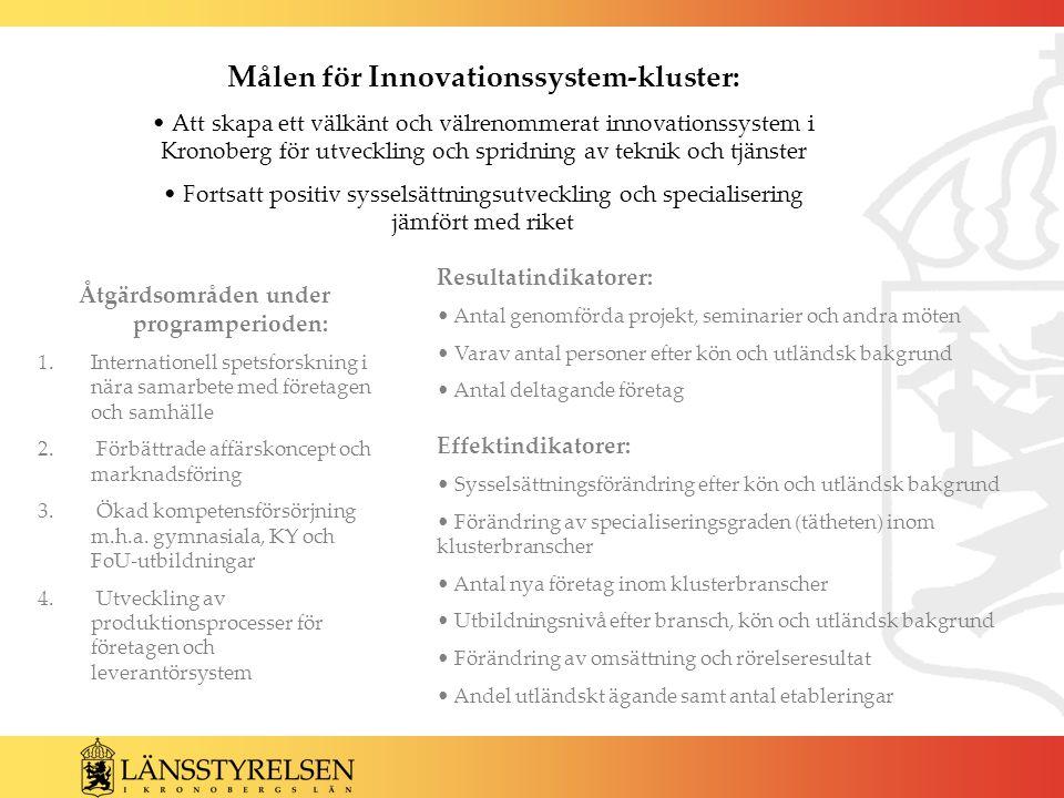 Målen för Innovationssystem-kluster: Att skapa ett välkänt och välrenommerat innovationssystem i Kronoberg för utveckling och spridning av teknik och tjänster Fortsatt positiv sysselsättningsutveckling och specialisering jämfört med riket Åtgärdsområden under programperioden: 1.Internationell spetsforskning i nära samarbete med företagen och samhälle 2.
