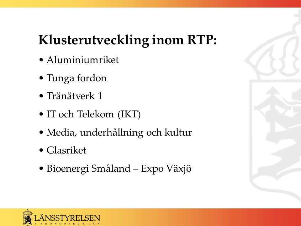 Klusterutveckling inom RTP: Aluminiumriket Tunga fordon Tränätverk 1 IT och Telekom (IKT) Media, underhållning och kultur Glasriket Bioenergi Småland – Expo Växjö