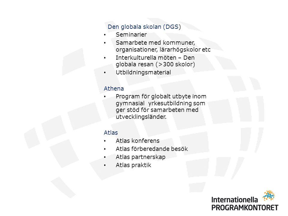 Den globala skolan (DGS) Seminarier Samarbete med kommuner, organisationer, lärarhögskolor etc Interkulturella möten – Den globala resan (>300 skolor) Utbildningsmaterial Athena Program för globalt utbyte inom gymnasial yrkesutbildning som ger stöd för samarbeten med utvecklingsländer.