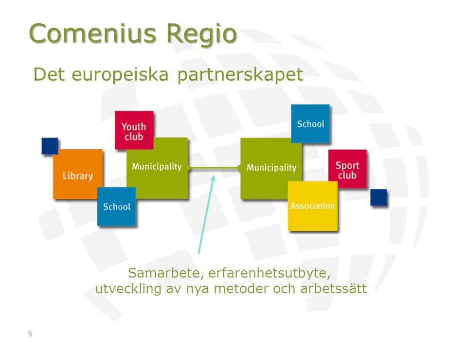 8 Comenius Regio Det europeiska partnerskapet Samarbete, erfarenhetsutbyte, utveckling av nya metoder och arbetssätt