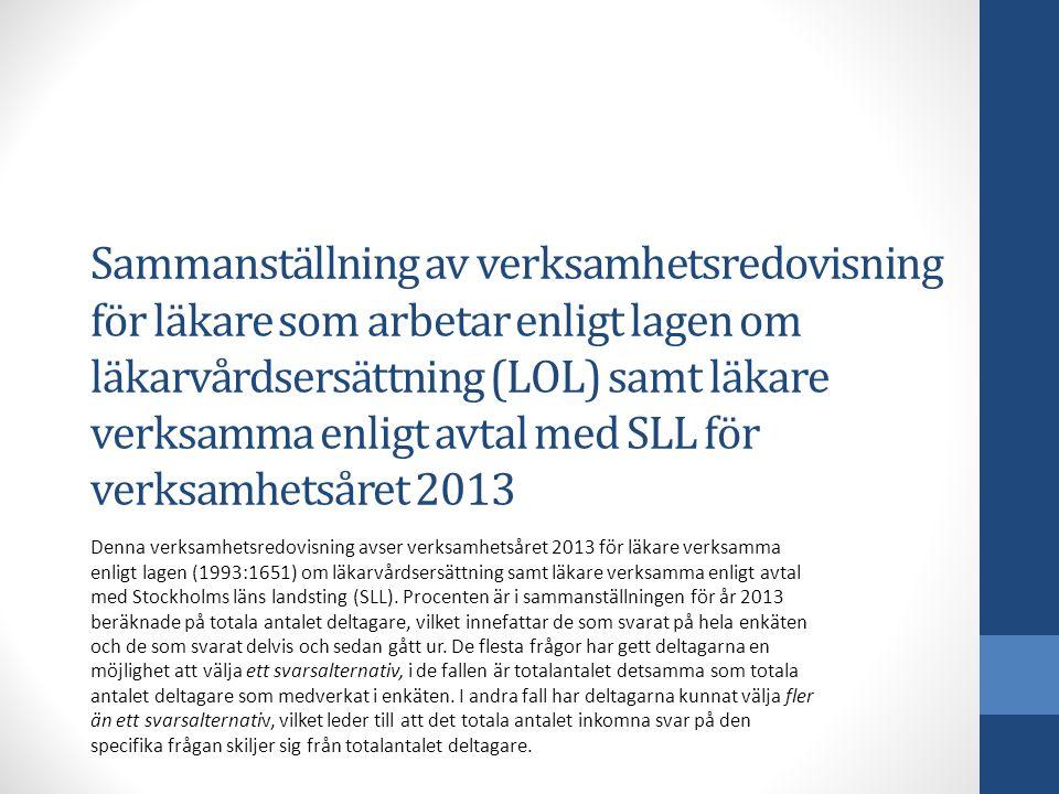 Sammanställning av verksamhetsredovisning för läkare som arbetar enligt lagen om läkarvårdsersättning (LOL) samt läkare verksamma enligt avtal med SLL för verksamhetsåret 2013 Denna verksamhetsredovisning avser verksamhetsåret 2013 för läkare verksamma enligt lagen (1993:1651) om läkarvårdsersättning samt läkare verksamma enligt avtal med Stockholms läns landsting (SLL).