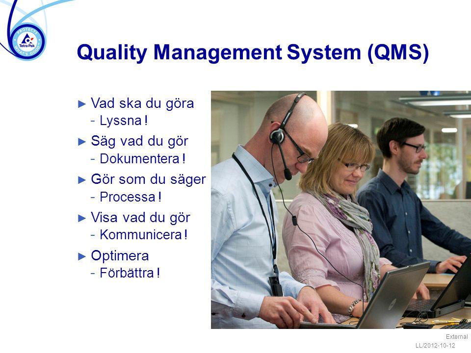Quality Management System (QMS) ► Vad ska du göra − Lyssna ! ► Säg vad du gör − Dokumentera ! ► Gör som du säger − Processa ! ► Visa vad du gör − Komm