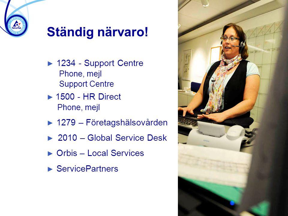 Ständig närvaro! ► 1234 - Support Centre Phone, mejl Support Centre ► 1500 - HR Direct Phone, mejl ► 1279 – Företagshälsovården ► 2010 – Global Servic