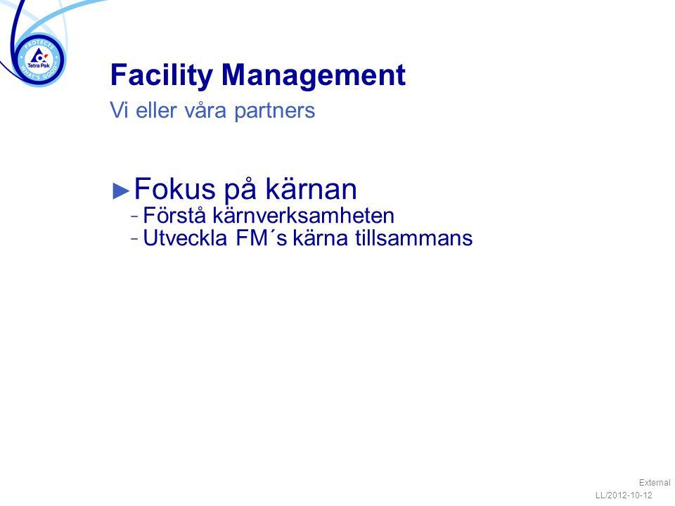Facility Management ► Fokus på kärnan − Förstå kärnverksamheten − Utveckla FM´s kärna tillsammans LL/2012-10-12 External Vi eller våra partners