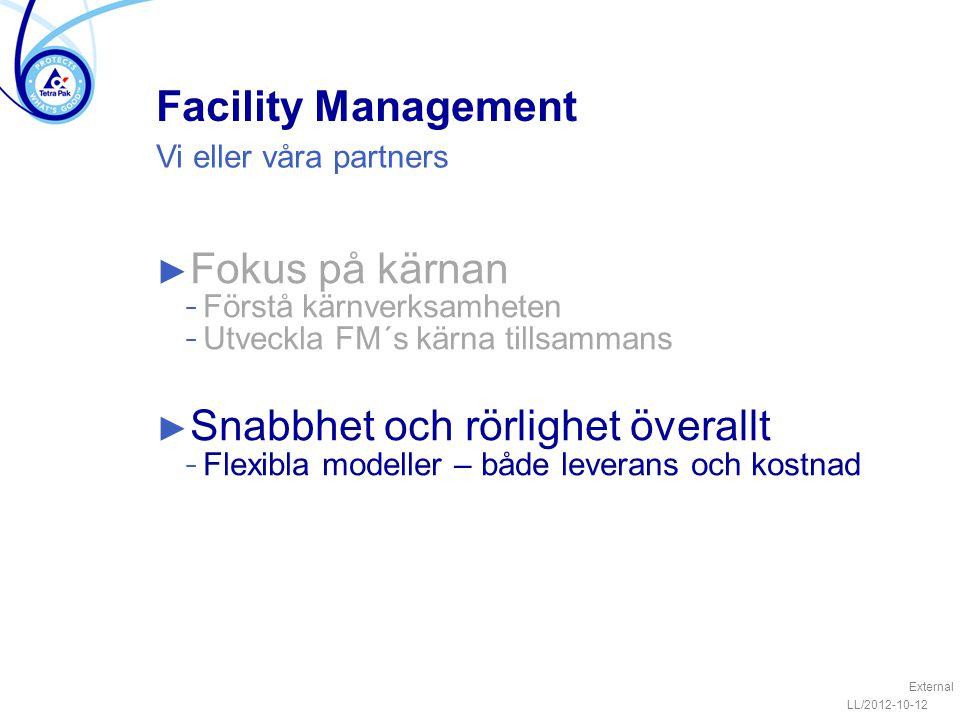 Facility Management ► Fokus på kärnan − Förstå kärnverksamheten − Utveckla FM´s kärna tillsammans ► Snabbhet och rörlighet överallt − Flexibla modeller – både leverans och kostnad LL/2012-10-12 External Vi eller våra partners