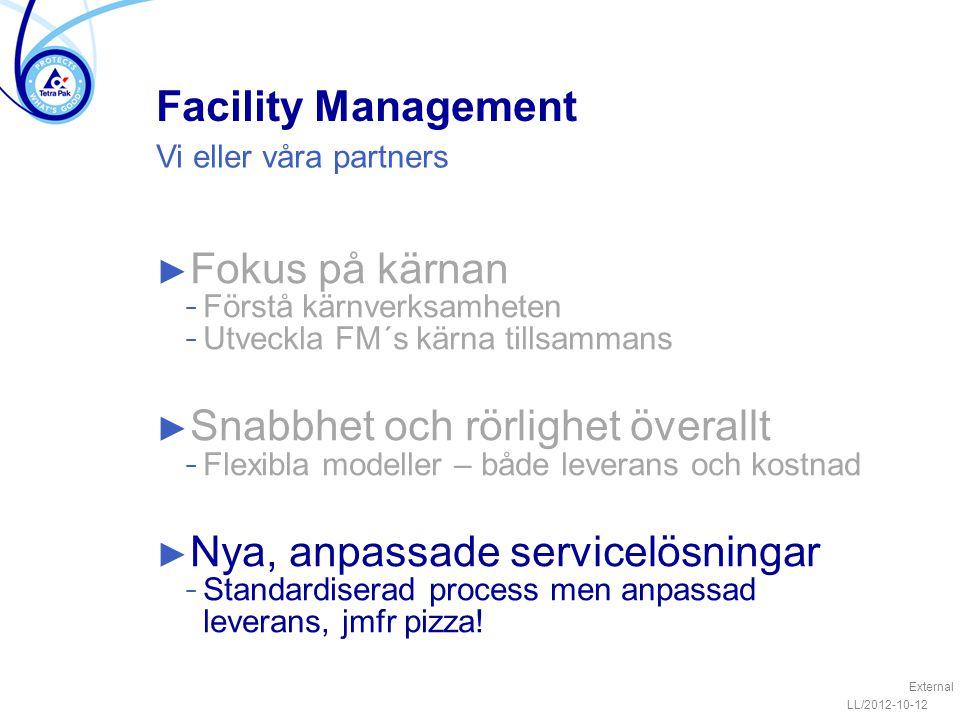 Facility Management ► Fokus på kärnan − Förstå kärnverksamheten − Utveckla FM´s kärna tillsammans ► Snabbhet och rörlighet överallt − Flexibla modelle