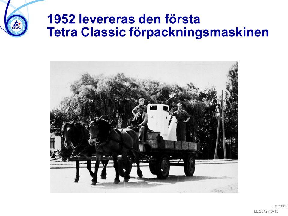1952 levereras den första Tetra Classic förpackningsmaskinen External LL/2012-10-12