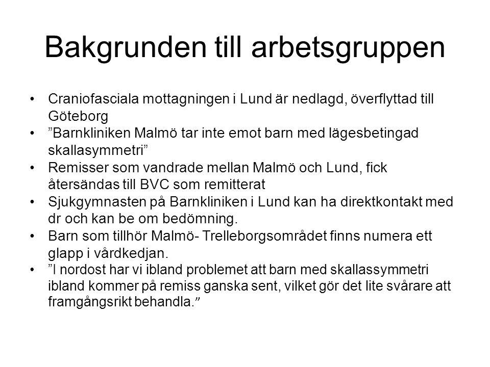 """Bakgrunden till arbetsgruppen Craniofasciala mottagningen i Lund är nedlagd, överflyttad till Göteborg """"Barnkliniken Malmö tar inte emot barn med läge"""