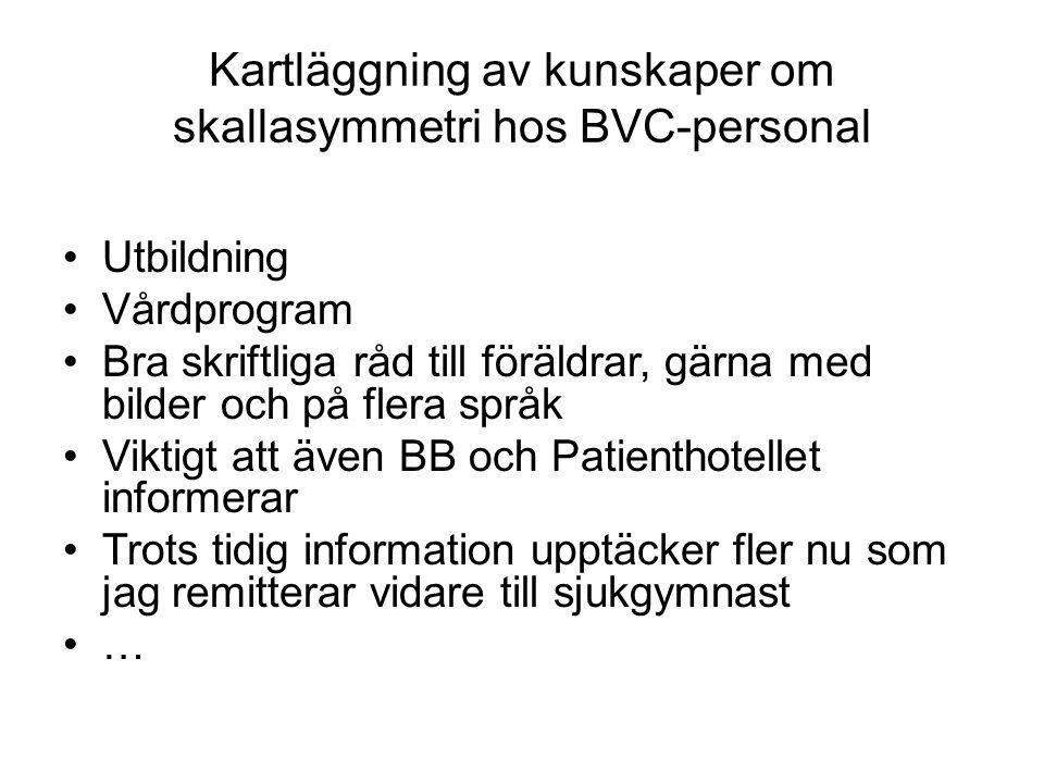 Kartläggning av kunskaper om skallasymmetri hos BVC-personal Utbildning Vårdprogram Bra skriftliga råd till föräldrar, gärna med bilder och på flera s
