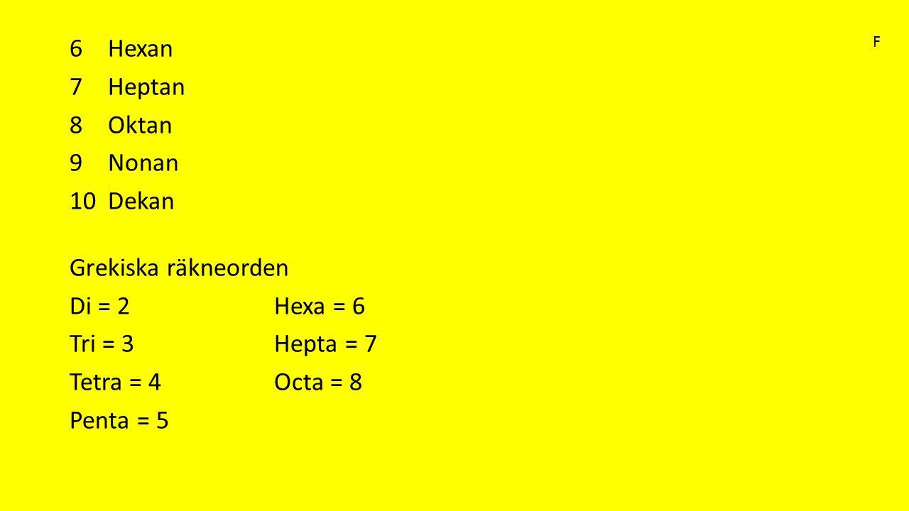 6Hexan 7Heptan 8Oktan 9Nonan 10Dekan Grekiska räkneorden Di = 2Hexa = 6 Tri = 3Hepta = 7 Tetra = 4Octa = 8 Penta = 5 F