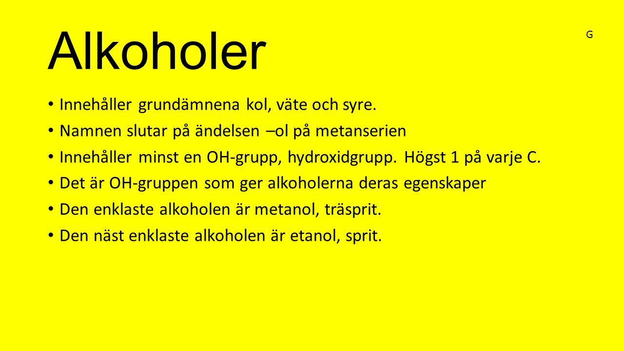 Alkoholer Innehåller grundämnena kol, väte och syre. Namnen slutar på ändelsen –ol på metanserien Innehåller minst en OH-grupp, hydroxidgrupp. Högst 1