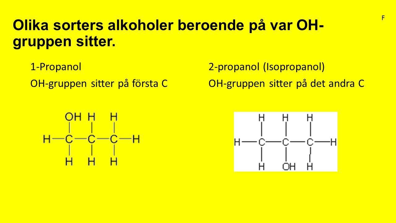 Olika sorters alkoholer beroende på var OH- gruppen sitter. 1-Propanol2-propanol (Isopropanol) OH-gruppen sitter på första COH-gruppen sitter på det a