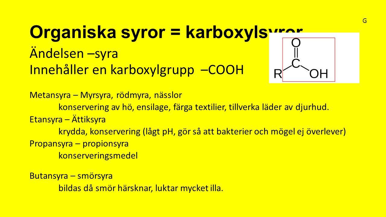 Organiska syror = karboxylsyror Ändelsen –syra Innehåller en karboxylgrupp –COOH Metansyra – Myrsyra, rödmyra, nässlor konservering av hö, ensilage, f