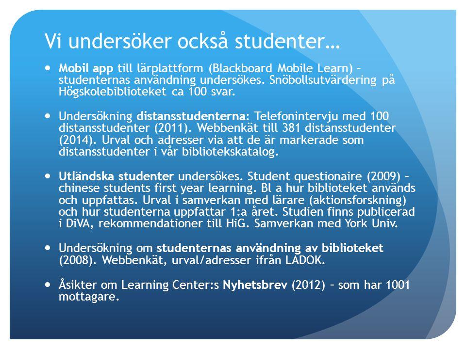 Vi undersöker också studenter… Mobil app till lärplattform (Blackboard Mobile Learn) – studenternas användning undersökes.