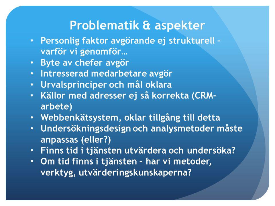 Personlig faktor avgörande ej strukturell – varför vi genomför… Byte av chefer avgör Intresserad medarbetare avgör Urvalsprinciper och mål oklara Källor med adresser ej så korrekta (CRM- arbete) Webbenkätsystem, oklar tillgång till detta Undersökningsdesign och analysmetoder måste anpassas (eller?) Finns tid i tjänsten utvärdera och undersöka.