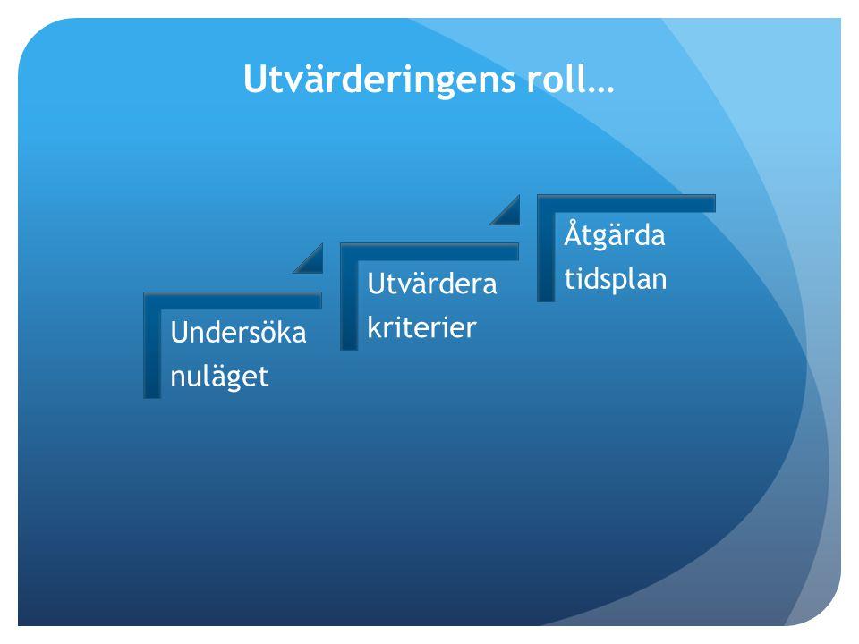 Utvärderingens roll… Undersöka nuläget Utvärdera kriterier Åtgärda tidsplan