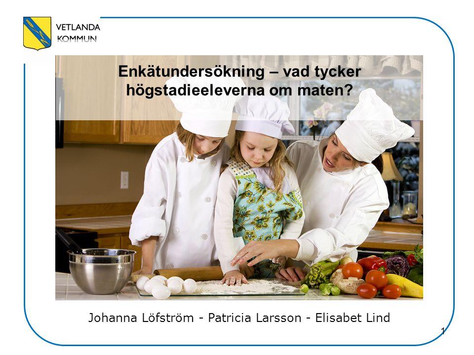 1 Enkätundersökning – vad tycker högstadieeleverna om maten? Johanna Löfström - Patricia Larsson - Elisabet Lind