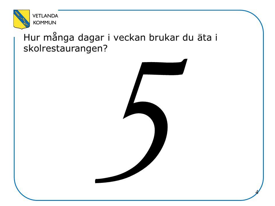 5 Hur upplever du skolmaten.NamnAntal% A. Mycket nöjd356,4 B.