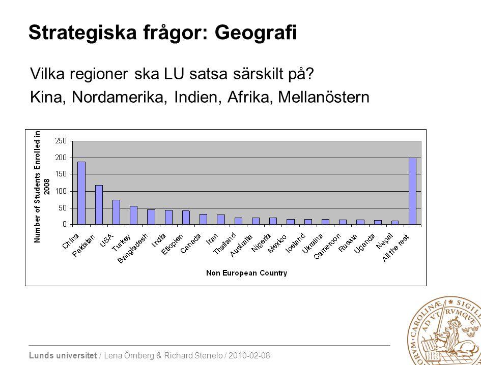 Lunds universitet / Lena Örnberg & Richard Stenelo / 2010-02-08 Strategiska frågor: Geografi Vilka regioner ska LU satsa särskilt på.