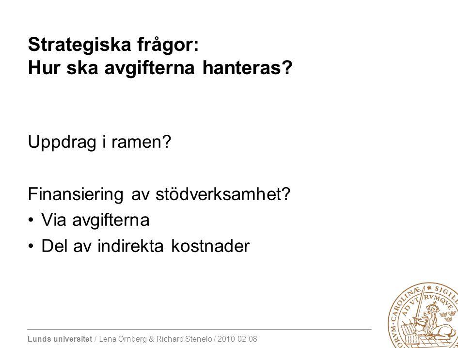 Lunds universitet / Lena Örnberg & Richard Stenelo / 2010-02-08 Strategiska frågor: Hur ska avgifterna hanteras.
