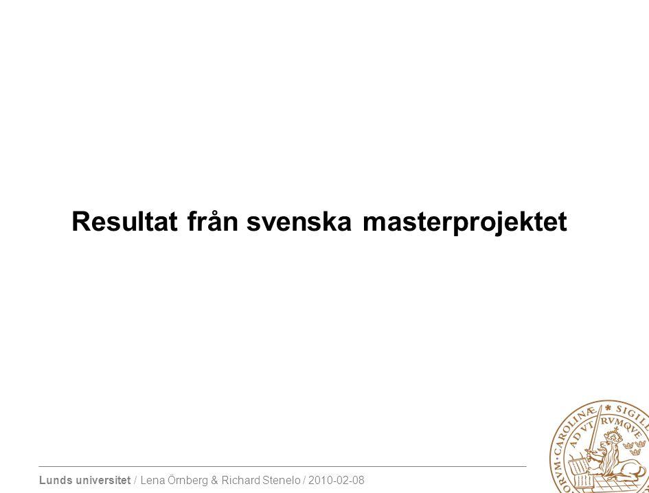 Lunds universitet / Lena Örnberg & Richard Stenelo / 2010-02-08 Andel studenter som antogs på masterprogram ht 2007 och som fortfarande i november 2009 inte hade tagit ut sin kandidatexamen