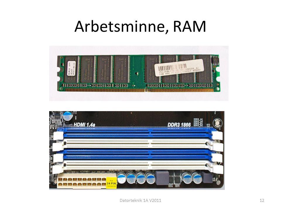 Arbetsminne, RAM Datorteknik 1A V201112