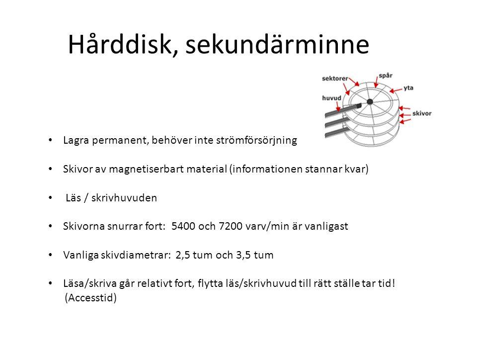 Hårddisk, sekundärminne Lagra permanent, behöver inte strömförsörjning Skivor av magnetiserbart material (informationen stannar kvar) Läs / skrivhuvud