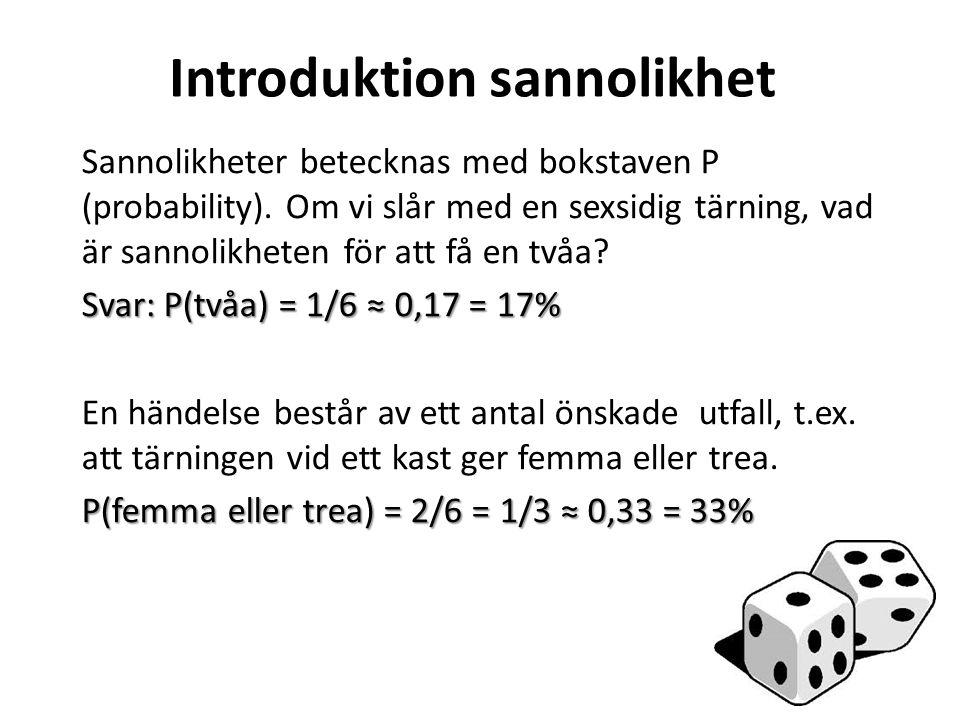 Introduktion sannolikhet Sannolikheter betecknas med bokstaven P (probability). Om vi slår med en sexsidig tärning, vad är sannolikheten för att få en