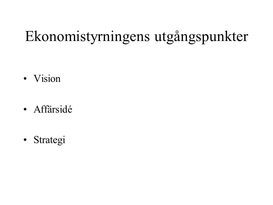 Ekonomistyrningens utgångspunkter Vision Affärsidé Strategi