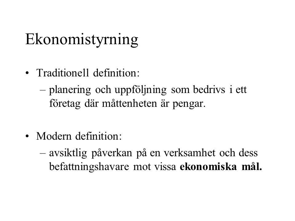 Ekonomistyrning Traditionell definition: –planering och uppföljning som bedrivs i ett företag där måttenheten är pengar. Modern definition: –avsiktlig