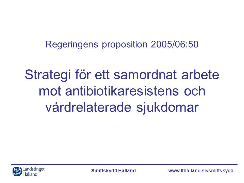 Smittskydd Halland www.lthalland.se/smittskydd Regeringens proposition 2005/06:50 Strategi för ett samordnat arbete mot antibiotikaresistens och vårdr