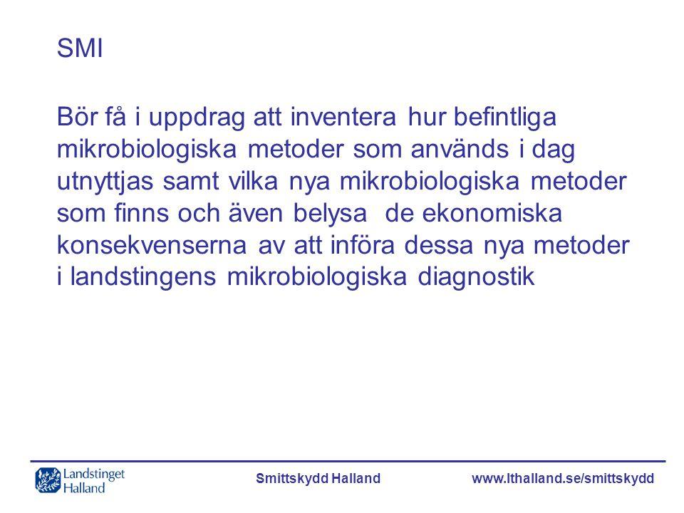 Smittskydd Halland www.lthalland.se/smittskydd SMI Bör få i uppdrag att inventera hur befintliga mikrobiologiska metoder som används i dag utnyttjas s