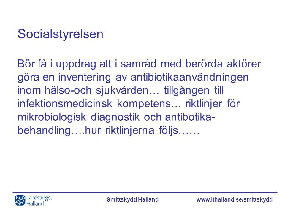 Smittskydd Halland www.lthalland.se/smittskydd Socialstyrelsen Bör få i uppdrag att i samråd med berörda aktörer göra en inventering av antibiotikaanv
