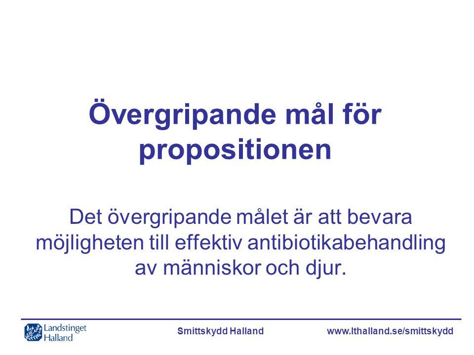 Smittskydd Halland www.lthalland.se/smittskydd Övergripande mål för propositionen Det övergripande målet är att bevara möjligheten till effektiv antib