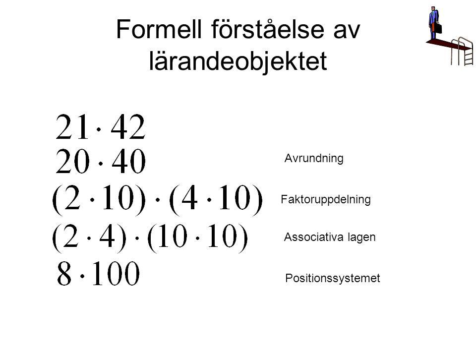 Formell förståelse av lärandeobjektet Faktoruppdelning Associativa lagen Positionssystemet Avrundning
