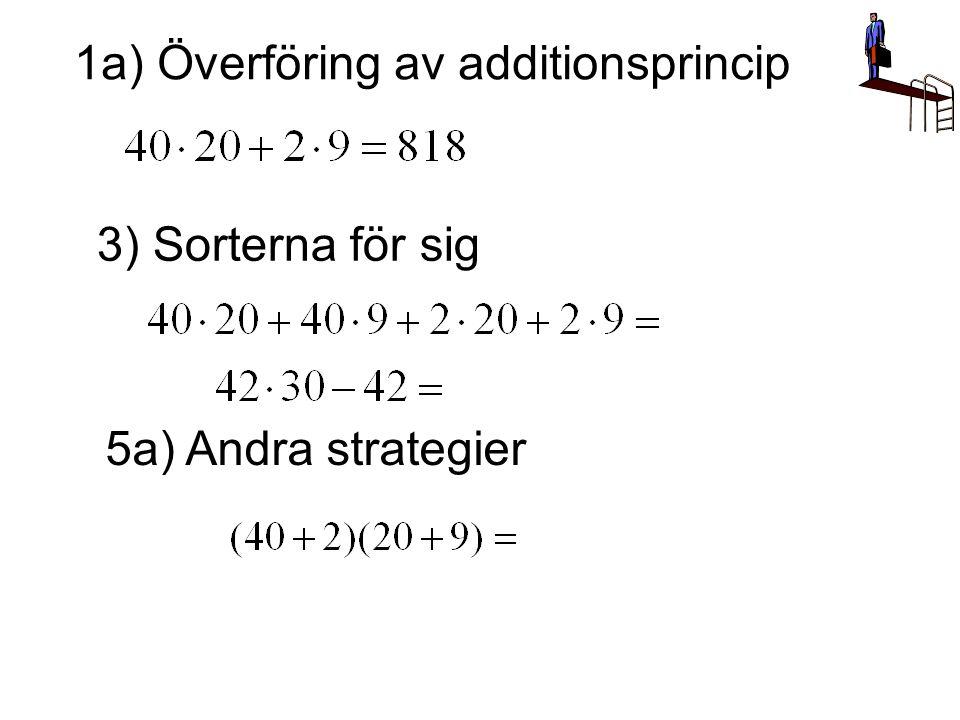 1a) Överföring av additionsprincip 3) Sorterna för sig 5a) Andra strategier