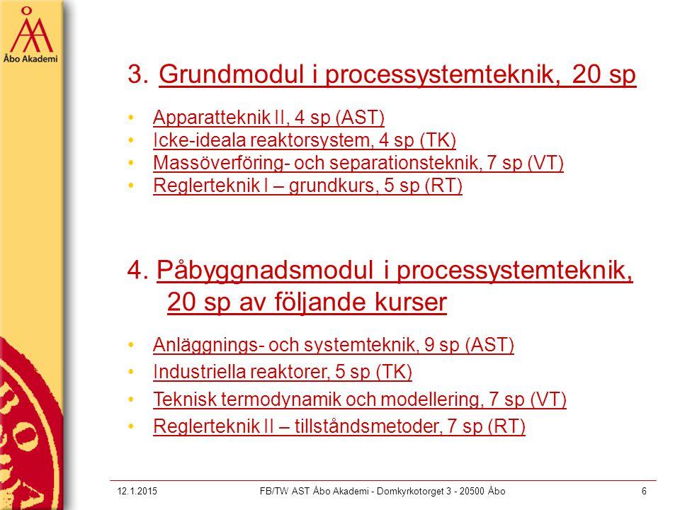 12.1.2015FB/TW AST Åbo Akademi - Domkyrkotorget 3 - 20500 Åbo6 3. Grundmodul i processystemteknik, 20 sp Apparatteknik II, 4 sp (AST) Icke-ideala reak
