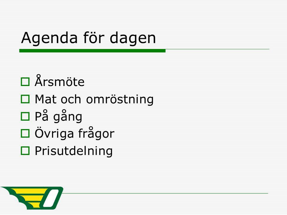 Agenda för dagen  Årsmöte  Mat och omröstning  På gång  Övriga frågor  Prisutdelning