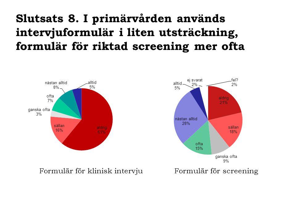 Formulär för klinisk intervjuFormulär för screening Slutsats 8. I primärvården används intervjuformulär i liten utsträckning, formulär för riktad scre